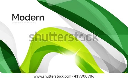 Background wave business corporate template - color curve stripes and lines in motion concept and with light and shadow effects. Presentation banner and business card message design template - stock vector