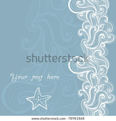 Background  waves and starfish, maritime pattern - stock vector