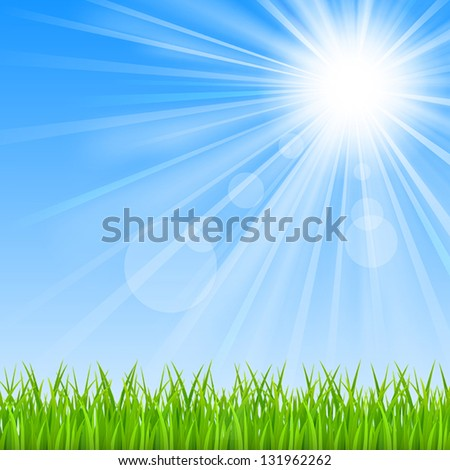 Background with a blue sky, sun and green grass.Mesh. Clipping Mask.This file contains transparency.EPS10 - stock vector