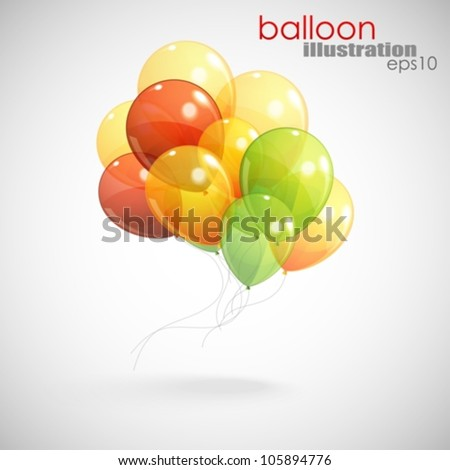 background with a bunch of multicolored balloons - stock vector