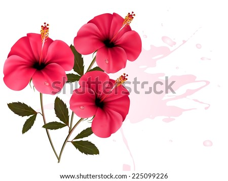 Background with a bunch of pink flowers. Vector.  - stock vector