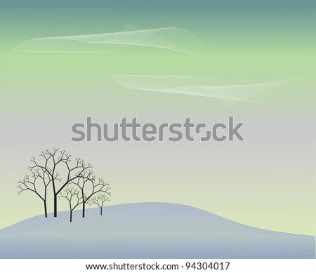 background with a grove on a snowy hill - stock vector