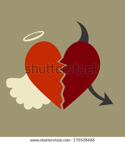 background with a heart divided between good and evil - stock vector