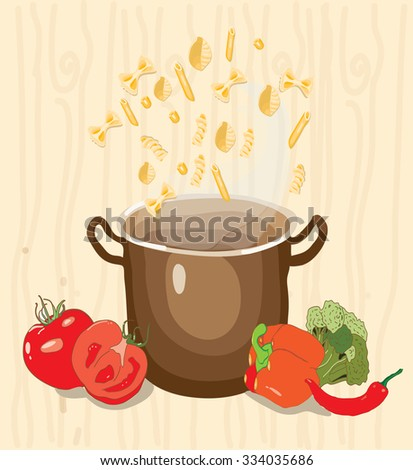 background with a picture of the pan and vermicelli with vegetables on yellow background - stock vector