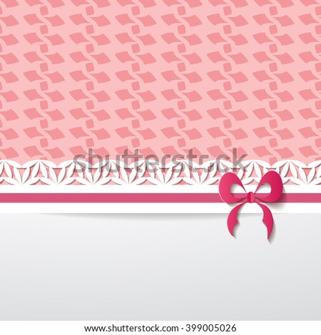 background with a pink pattern, a paper ribbon and a white space. A seamless pattern and  a seamless border are included in the palettes