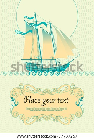 background with a sailboat - stock vector