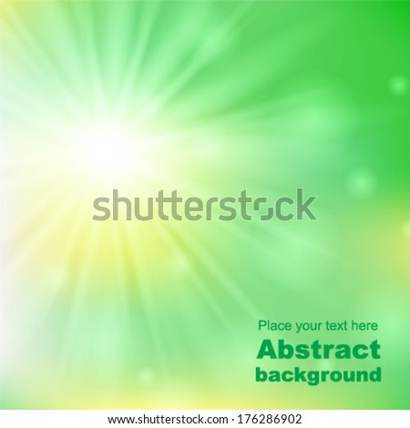 background with a spring sun burst. Vector illustration. - stock vector