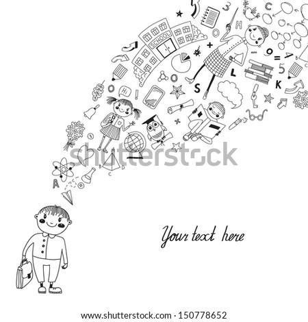 Background with a student and her thoughts about the school. Back to school. Vector illustration. - stock vector