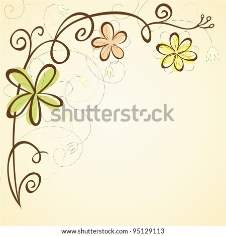 Background with abstract flowers. Floral frame. - stock vector
