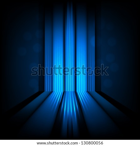 Background with abstract lines of blue light - stock vector
