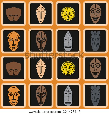 background with African ritual masks for your design