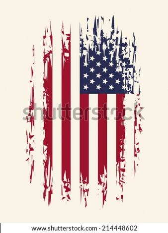 Background with aged USA Flag, EPS 8, CMYK - stock vector