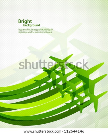 Background with airplanes - stock vector