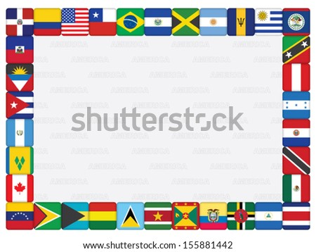 background with American countries flag icons frame vector illustration - stock vector