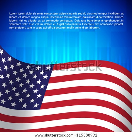 Background with american flag - stock vector