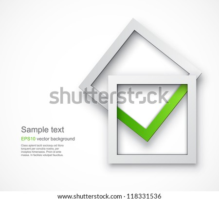 Background with an abstract green tick formed by two overlying square shapes. EPS10 vector image. - stock vector