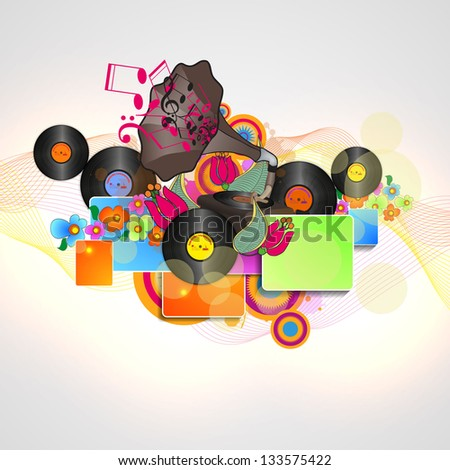 Background with an Explosion of Colors with music design elements - stock vector
