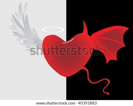 background with angel and demon illustration - stock vector