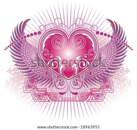 background with angels and heart - stock vector