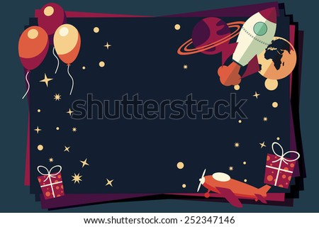 Background with balloons, presents, rocket ship and planets, vector illustration - stock vector