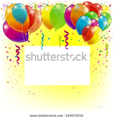Background with balloons with white frame for text - stock vector