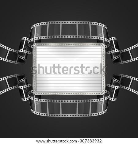 Background with  banner and film strip. EPS 10 contains transparency. - stock vector