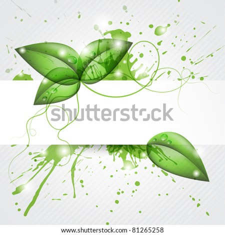 Background with banner and green shiny leafs