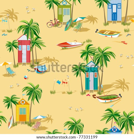 Background with beach huts - stock vector
