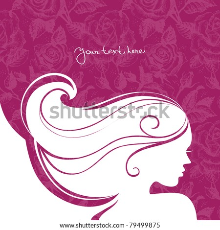 Background with beautiful girl silhouette - stock vector