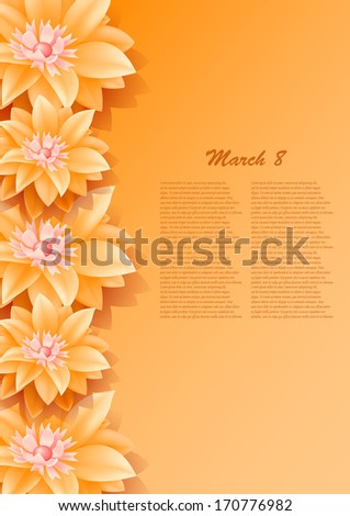 background with beautiful paper orange flowers,may be used as a Women's Day backdrop  - stock vector