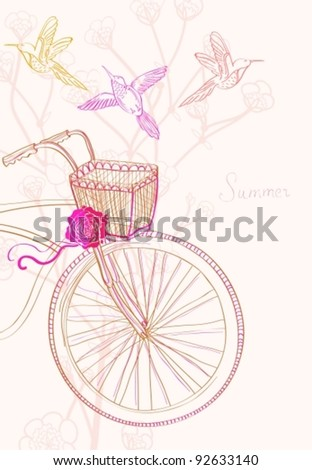 Background with bicycle and birds, vector illustration