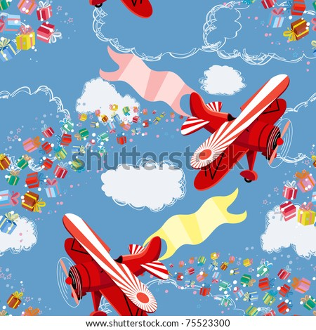 Background with biplane throwing gifts - stock vector