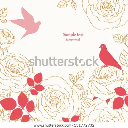 Background with birds and flowers - stock vector