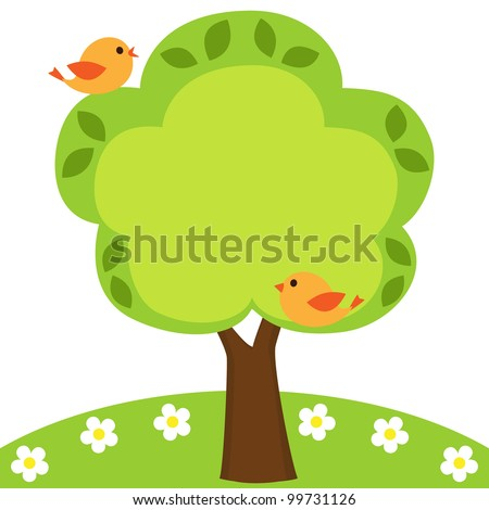 Background with birds, flowers and tree with place for your text - stock vector