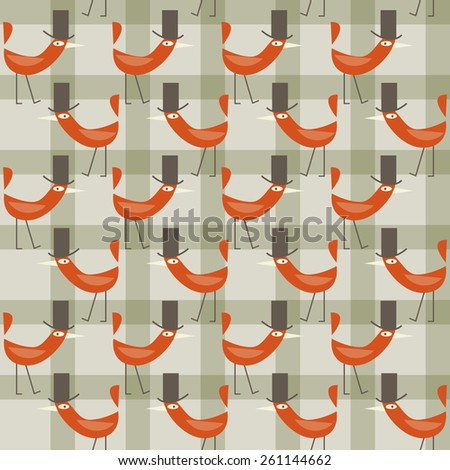 background with birds in hats - stock vector