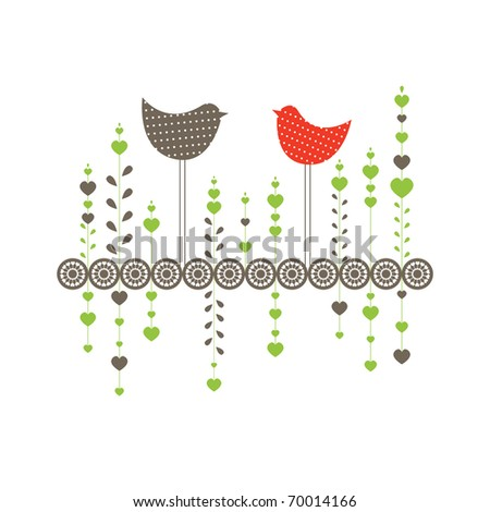 Background with birds in love. Vector illustration - stock vector