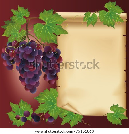 Background with black grapes and old paper - place for your text.