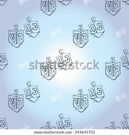 Background with black hand drawing hanukkah celebration symbols: dreidel. Set of isolated chanukah ceremony decorative art elements on light blue backdrop - stock vector