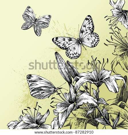Background with blooming lilies and beautiful butterflies, hand-drawing. Vector illustration - stock vector
