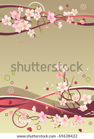Background with blossoming branches
