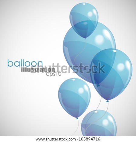 background with blue balloons - stock vector