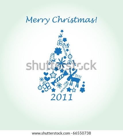 background with blue christmas tree - stock vector