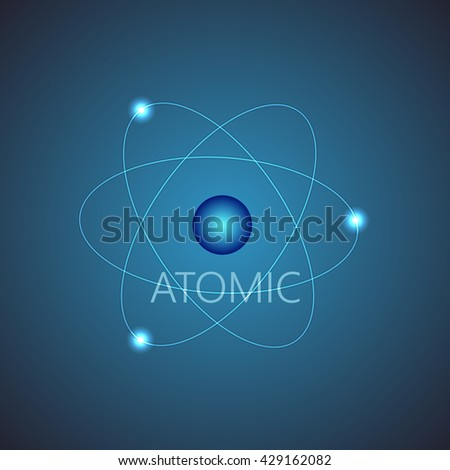 Background with blue shining atom scheme. Vector illustration. Abstract technology background for computer graphic. - stock vector