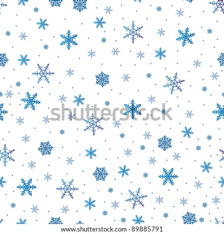 background with blue snowflakes on white, seamless
