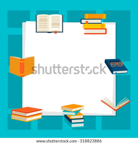 Background with books, vector illustration - stock vector