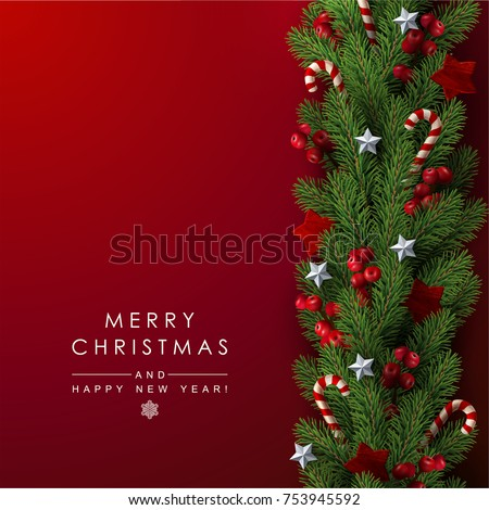 background with border of realistic looking christmas tree branches decorated with berries stars and candy - Real Looking Christmas Tree