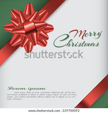 Background with bow, christmas card, illustration. - stock vector