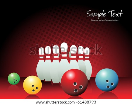 background with bowling pins and ball, illustration - stock vector