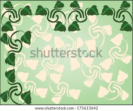 background with branches and ivy leaves - stock vector
