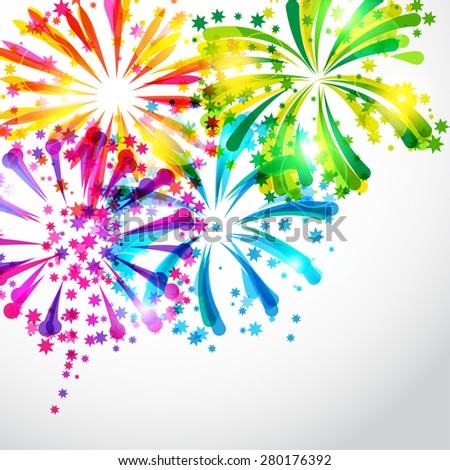 Background with bright colorful fireworks and salute. - stock vector